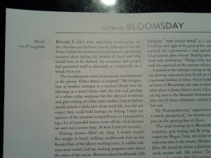 "A snippet of my new short story, ""Bloomsday"" (photo taken 06 2013)"