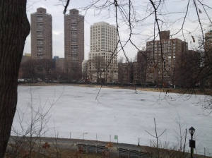 Harlem Meer Still White. (photo taken 03 13 2014)