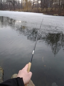 Tenkara on thin ice. (photo taken 03 13 2014)