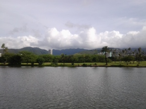 Ala Wai Canal with Ala Wai Golf Course beyond.()photo taken 10 2014)