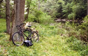 Free Parking John Mutone, by mountain bike, loved to explore the bluffs and meadows of the Wiisahickon Valley. (photo from Small Fry: The Lure of the Little by ron P. swegman)
